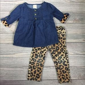Gymboree Chambray Leopard Outfit